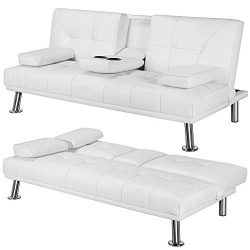Yaheetech Futon Sofa Bed Sleeper Sofa Modern Faux Leather Futon Convertible Sofa with Armrest Ho ...