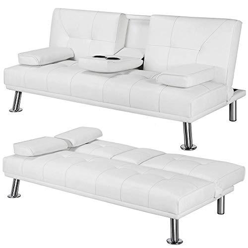 Yaheetech Futon Sofa Bed Sleeper Sofa Modern Faux Leather Futon Convertible Sofa with Armrest Ho ...