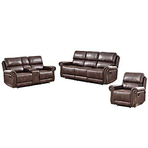 Romatpretty Leather Sofa ,Reclining Sofa Set Of 3 Pleated Lines With Bronze Rivets Adjus Comfort ...