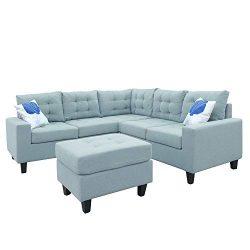 MOOSENG Modern Soft Sofa/Combination Sofa, L-Shaped Sectional Sofa,Fabric Sofa Linen, 5 Seat,Sof ...