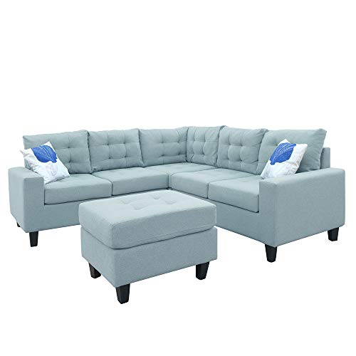 MOOSENG Modern Soft Sofa/Combination Sofa, L-Shaped Sectional Sofa,Fabric Sofa Linen, 5 Seat,Sof ...
