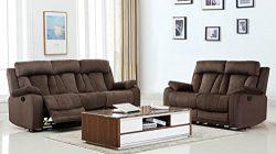 Blackjack Furniture The Elton Collection 2-Piece Reclining Living Room Sofa Set, Brown