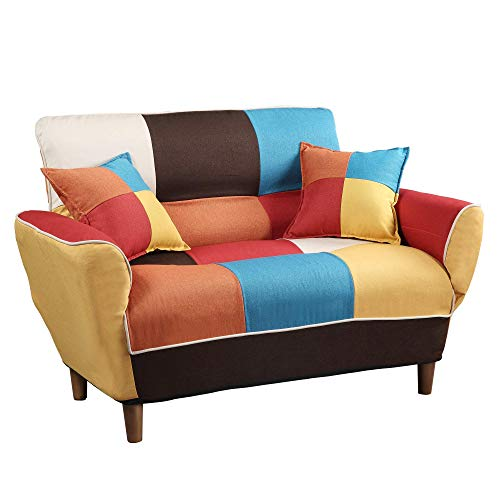 Convertible Upholstered Sofa,Couch Linen Fabric Loveseat,Chair Full Size Sleeper Bed with Solid  ...