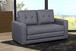 US Pride Furniture Daisy Modern Fabric Loveseat and Sofa Bed, Dark Grey