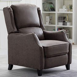 ANJ Recliner Chair Push Back Recliners with Thickness Backrest and Cushion, Smoky Grey