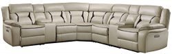 Homelegance Amite 119″ x 119″ Leather Gel Power Reclining Sectional Sofa, Beige