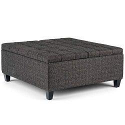 Simpli Home AXCOT-265-DGR Harrison 36 inch Wide Traditional Square Coffee Table Storage Ottoman  ...