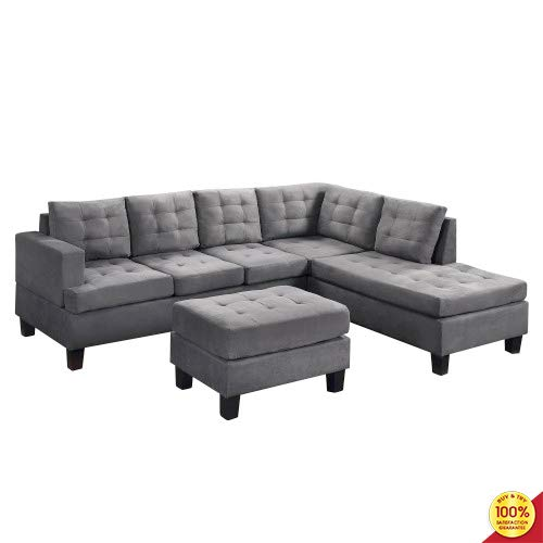 MOOSENG, 3-Piece Sectional Set with Chaise Lounge and Ottoman Mid Century Modern Perfect for The ...