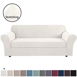H.VERSAILTEX Ivory White Color 2-Piece Spandex Stretch Sofa Slipcover for 4 Seater Sofa, Machine ...