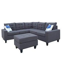 Romatpretty Modern Soft Convertible Sofa Set,L-shaped Sofa,Modern Linen Weave,With Footrest Sofa ...