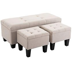 BELARDO home 42.1″ Rectangular Storage Ottomans, 3-Piece Fabric Tufted Upholstered Bench S ...
