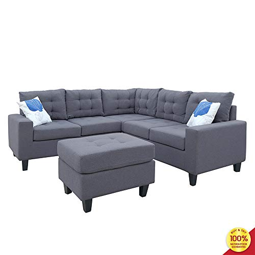 Sofa Sectional Set, Couch Linen-Like Left or Right Hand with Ottoman, 4 Pieces for 5 Seaters, Li ...