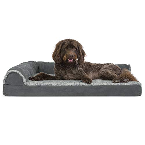 Furhaven Pet Dog Bed | Deluxe Cooling Gel Memory Foam Two-Tone Plush Faux Fur & Suede L Shap ...