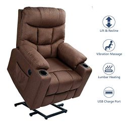 Esright Fabric Power Lift Chair Electric Recliner for Elderly, Vibration Massage Chair with Heat ...