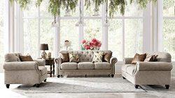 Acanva Living Room Set Sofas, 3 Piece, Almond
