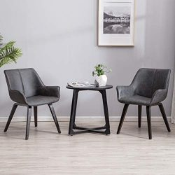 YEEFY Charcoal Leather Living Room Room Chairs with arms Contemporary Living Room Chairs Set of  ...