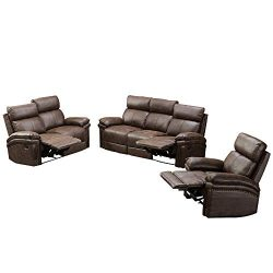 Romatlink Leather Sofa Recliner Sofa Sofa Set 3 Piece/Chair Bonded Leather Living Room Furniture ...