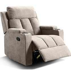 ANJ Chair Recliner Contemporary Theater Recliner with 2 Cup Holders Buff