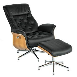 Mellcom Lounge Chair Mid Century PU Leather Chaise Lounge with Ottoman Set,Adjustable Backrest A ...