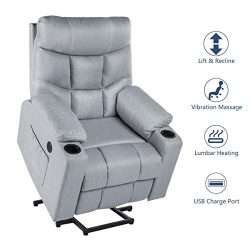 Esright Power Lift Chair Electric Recliner for Elderly Heated Vibration Fabric Sofa Living Room  ...