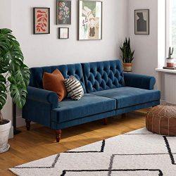 Novogratz Upholstered Cassidy, Convertible Sofa Bed, Blue Velvet Futon