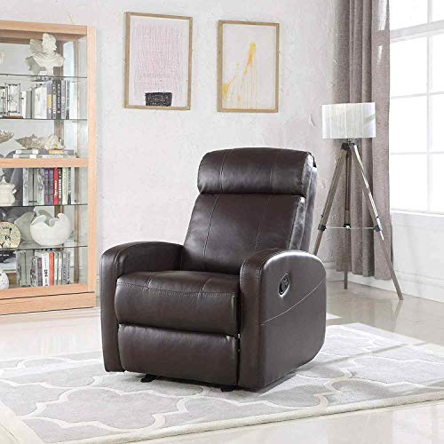 Brown Faux Leather Rocking Recliner Lounge Chair – Modern Overstuffed Ergonomic Lounger Ch ...