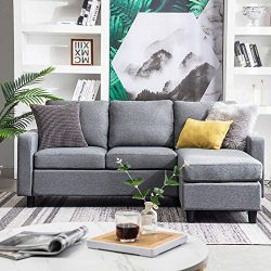 HONBAY Convertible Sectional Sofa Couch Modern Linen Fabric L-Shape Couch for Small Space Grey ( ...