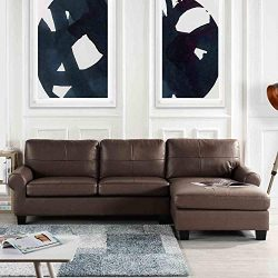 Brown Leather Sectional Sofa Couch with Chaise, Modern Brown L-Shape Wide Chaise Top Grain Leath ...