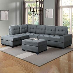 Romatpretty Modern Combination, 3 Piece Sectional Sofa Couch Microfiber with Reversible Chaise L ...