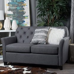Christopher Knight Home Jennifer Dark Grey Tufted Fabric Loveseat