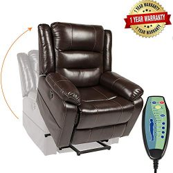 PieDle Electric Power Lift Recliner Chair, Leather Recliners for Elderly, Home Sofa Chairs with  ...
