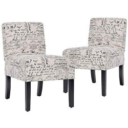 Accent Chair Armless Chair Dining Chair Set of 2 Elegant Design Modern Fabric Living Room Chairs ...