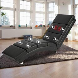 Yamadao Massage Chaise Lounge Chair with Back Indoor, Black, with Remote 5 Modes, 8 Vibrating Nodes