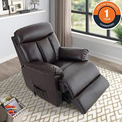 Power Lift Chair Soft PU Upholstery Recliner Living Room Sofa Chair with Remote