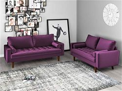 Container Furniture Direct Mid Century Modern Velvet Upholstered Button Tufted Living Room Sofa, ...