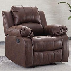 Bonzy Home Air Suede Recliner Chair Overstuffed Heavy Duty Recliner – Faux Suede Leather H ...