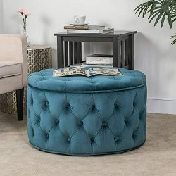 Homebeez Velvet Round Storage Ottoman, Button-Tufted Footrest Stool Bench, Upholstered Coffee Si ...