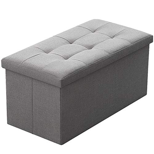Camabel Folding Storage Ottoman Bench Cube 30 inch Fabric Storage Chest with Memory Foam Seat Fo ...