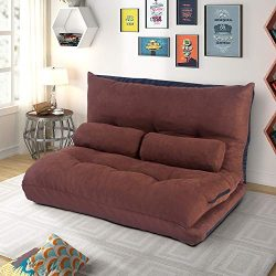 Merax Floor Sofa Bed 5-Position Recliner Lazy Sofa Futon Sleeper Bed Sofa Couch with Two Pillows ...