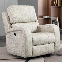 Bonzy Home Power Recliner Chair Air Suede – Overstuffed Electric Faux Suede Leather Reclin ...