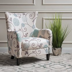 Christopher Knight Home Arabella Arm Chair, White/Blue Floral
