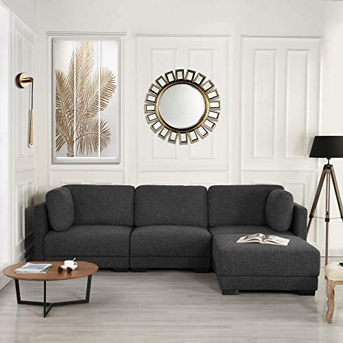 Modular Sectional Sofa Couch Convertible Sofa Sectional w/Reversible Chaise Ottoman, 3 Piece (Cu ...