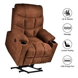 RELAXIXI Power Lift Recliner Chair, Electric Recliners for Elderly, Heated Vibration Massage Sof ...