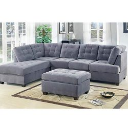 Casa AndreaMilano 2 Piece Modern Grey Soft Tufted Micro Suede Sectional Sofa Couch with Reversib ...