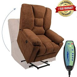 PieDle Electric Power Lift Recliner Chair, Linen Recliners for Elderly, Home Sofa Chairs with He ...