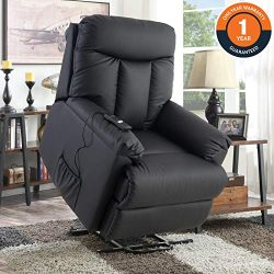 Lift Chair for Elderly, Lift Recliner Sofa Power Lift Recliner Chair Upholstered PU with Remote  ...