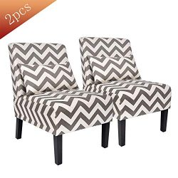Contemporary Upholstered Armless Accent Chair with Lumbar Pillow, Wood Leg Living Room Chair Set ...