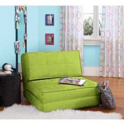 Flip Chair Convertible Sleeper Dorm Bed Couch Lounger Sofa in Green Glaze