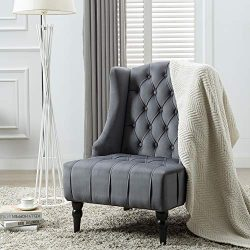 Altrobene Modern Velvet Accent Chair, Living Room Bedroom Chair, Tall Wingback, Tufted Nailhead, ...