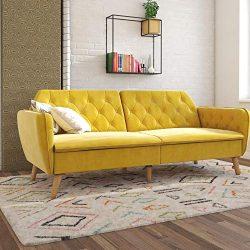 Novogratz Tallulah Memory Foam Couch, Mustard Yellow Velvet Futon,